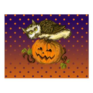 Calabaza fantasmagórica de Halloween del búho Postal