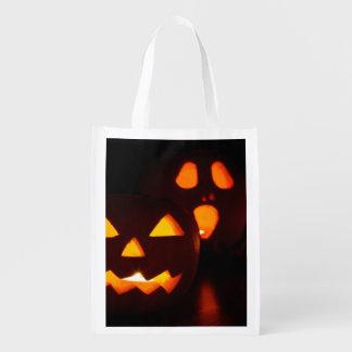 Calabaza fantasmagórica de Halloween Bolsas Para La Compra