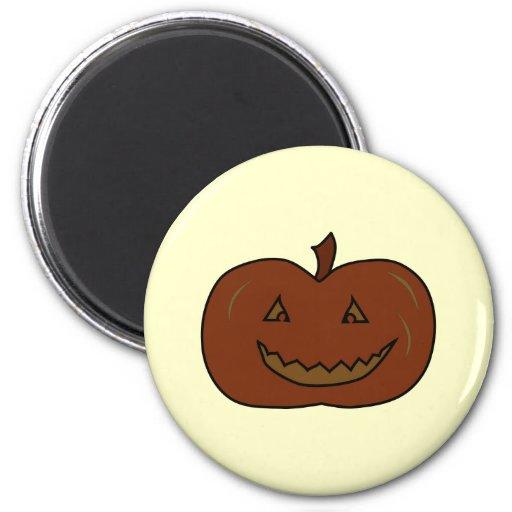 Calabaza feliz. Colores oscuros. Halloween Imán Redondo 5 Cm
