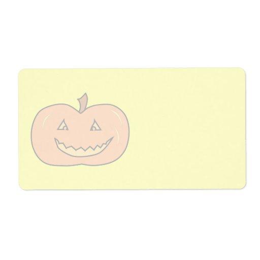 Calabaza feliz tallada, colores pálidos. Halloween Etiqueta De Envío
