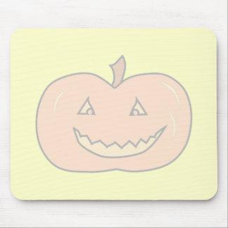 Calabaza feliz tallada colores pálidos Halloween Tapete De Ratón