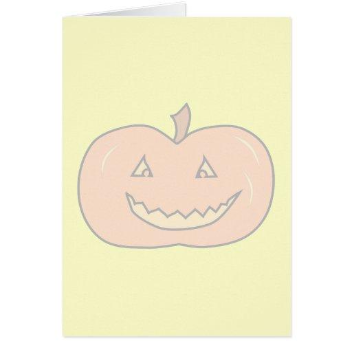 Calabaza feliz tallada, colores pálidos. Halloween Tarjeta De Felicitación