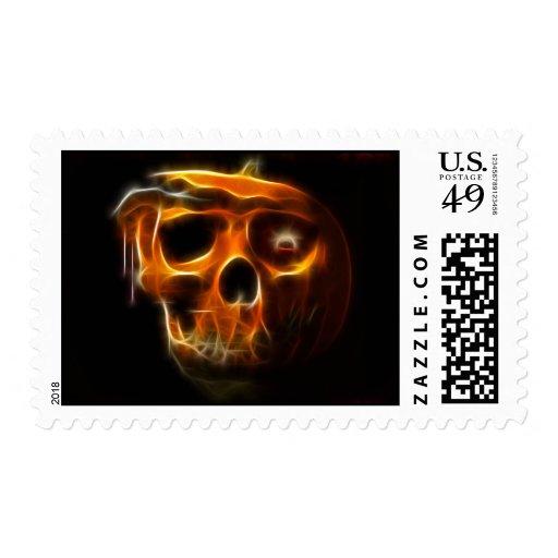 Calabaza fresca de la muerte de Halloween Sello Postal
