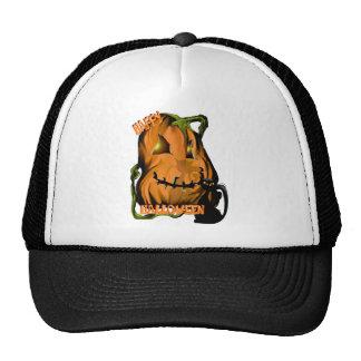 Calabaza gorda y gorras negros del gatito