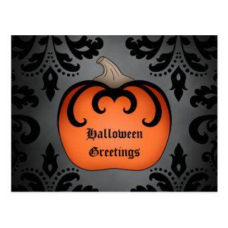 Calabaza gótica de Halloween en el damasco Tarjetas Postales