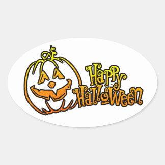 Calabaza Jackolantern del feliz Halloween Pegatinas De Óval Personalizadas