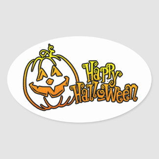 Calabaza Jackolantern del feliz Halloween Pegatina Ovalada