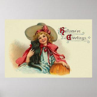 Calabaza linda del gato negro del chica de la póster