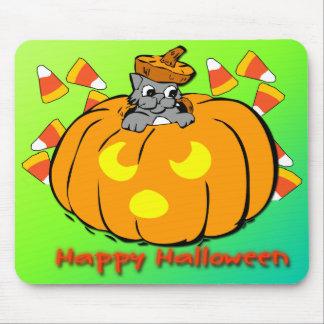 Calabaza linda Mousepad de Halloween del gatito Alfombrillas De Raton