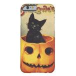 Calabaza linda sonriente del gato negro de funda de iPhone 6 barely there
