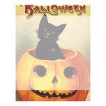 Calabaza linda sonriente del gato negro de Hallowe Tarjetas Publicitarias