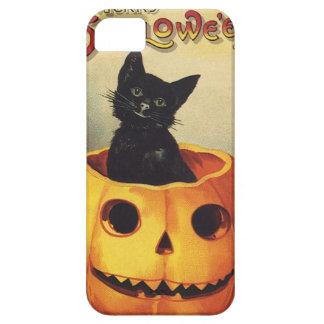 Calabaza linda sonriente del gato negro de Hallowe iPhone 5 Carcasa