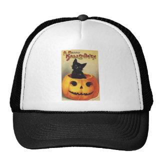 Calabaza linda sonriente del gato negro de Hallowe Gorro De Camionero