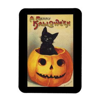 Calabaza linda sonriente del gato negro de Hallowe Imán De Vinilo