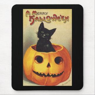 Calabaza linda sonriente del gato negro de Hallowe Alfombrillas De Raton