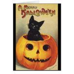 Calabaza linda sonriente del gato negro de Hallowe Tarjeta
