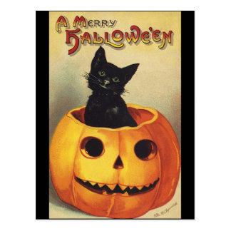 Calabaza linda sonriente del gato negro de Hallowe Tarjeta Postal