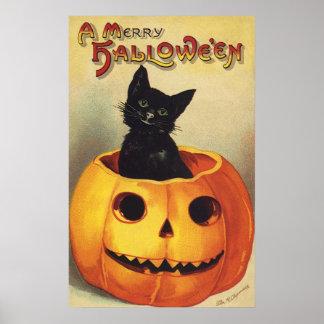 Calabaza linda sonriente del gato negro de póster