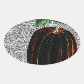 Calabaza mágica pegatina ovalada