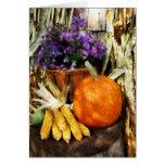 Calabaza, maíz y asteres felicitaciones
