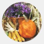 Calabaza, maíz y asteres pegatinas