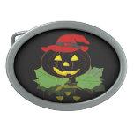 Calabaza oscura de Halloween Hebilla De Cinturón Oval
