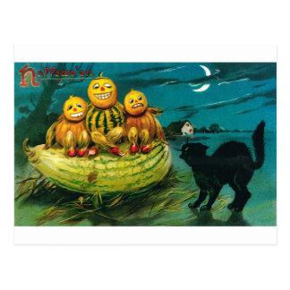 Calabaza Peopl de Halloween y gato Postales