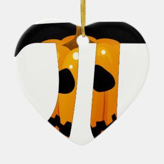 Calabaza pi adorno navideño de cerámica en forma de corazón