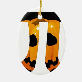 Calabaza pi adorno navideño ovalado de cerámica