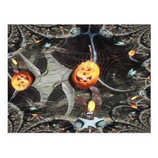 Calabaza remontada fractal de Halloween Postal