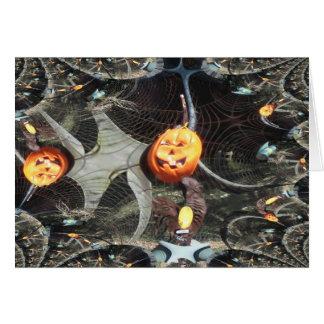 Calabaza remontada fractal de Halloween Tarjeta De Felicitación