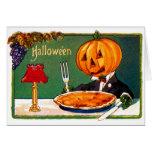 Calabaza retra de Halloween del kitsch del vintage Felicitación