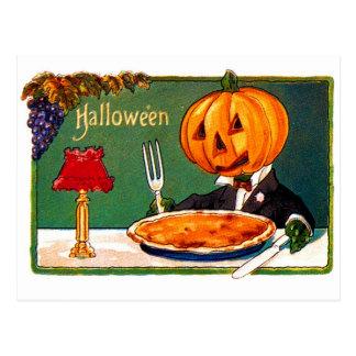 Calabaza retra de Halloween del kitsch del vintage Postal