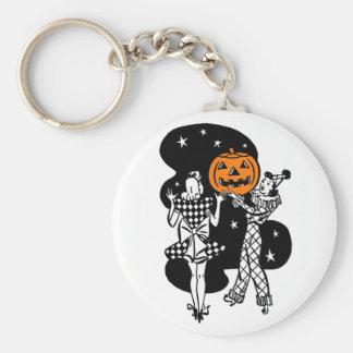 Calabaza retra de Halloween del vintage Llaveros Personalizados