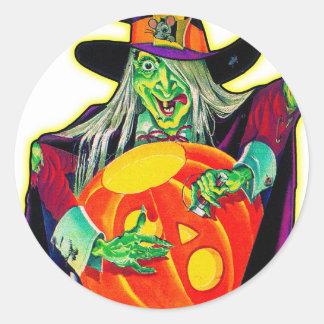 Calabaza retra del vintage de Halloween que talla Pegatina Redonda