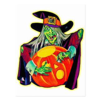 Calabaza retra del vintage de Halloween que talla  Tarjeta Postal