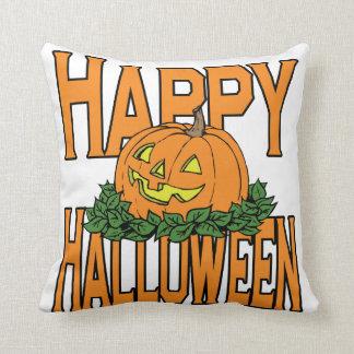 Calabaza sonriente del feliz Halloween Cojin