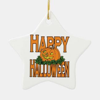 Calabaza sonriente del feliz Halloween Ornamentos De Reyes Magos