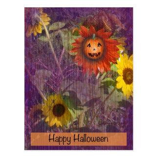 Calabaza sonriente del girasol del feliz Halloween Postales