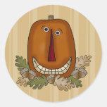 Calabaza sonriente etiqueta redonda