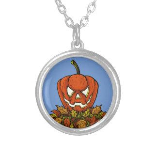 calabaza sonriente malvada de Halloween Colgante Redondo
