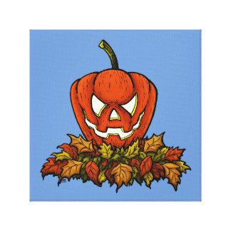 calabaza sonriente malvada de Halloween Impresiones En Lona Estiradas