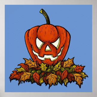 calabaza sonriente malvada de Halloween Póster