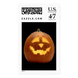 Calabaza sonriente tallada de Halloween Timbre Postal