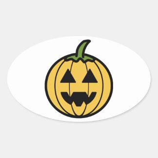 Calabaza tallada fantasmagórica de Halloween Pegatina Ovalada