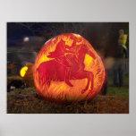 Calabaza tallada hueco soñoliento de Halloween Impresiones