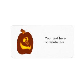 Calabaza torpe de la Jack-o-Linterna de Halloween  Etiquetas De Dirección