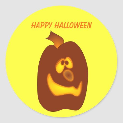 Calabaza torpe de la Jack-o-Linterna de Halloween Pegatina Redonda