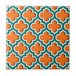 Calabaza, trullo, marroquí blanco Quatrefoil #5DS Azulejo Cuadrado Pequeño