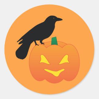 Calabaza y cuervo de Halloween Pegatina